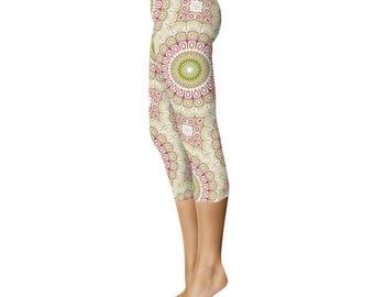 Capris - Mandala Flower Leggings, Green and Pink Leggings Tights, Yoga Tights Womens Stretch Pants