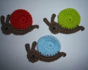 Details about  Crochet snail appliques,embellishment,scrapbooking,sewing set 3