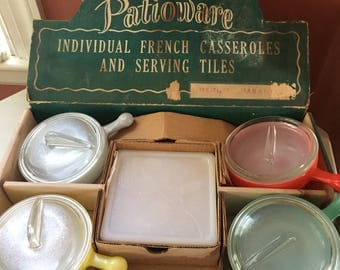 Vintage Glasbake Patioware French Casserole Set