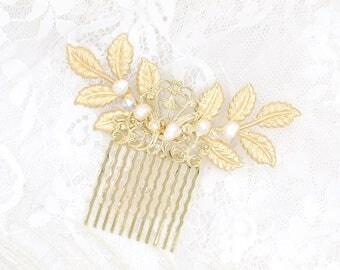 Gold Leaf Bridal Hair Comb Rhinestone Crystal Leaves Rhinestone, Wedding Hair Accessory, Classic Haircomb, Bridal headpiece, Boho hair comb