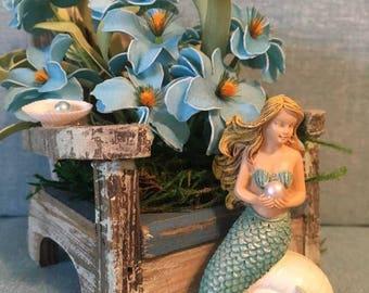 Little wood beach chair/with blue/flowers little mermaid