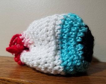 Eyeball dice bag or coin purse, blue iris, crochet