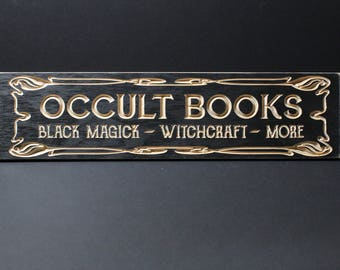 Occult Books Wooden Sign | Home Library | Black Magic Witchcraft | Antique Vintage Style Carved