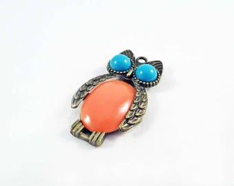 BDP30 - Bronze charm cute OWL Orange big eyes blue