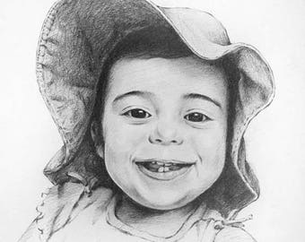 Christmas in July Custom Portrait, Personal Portrait, Custom Pencil Sketch From Your Photo, Hand Drawn
