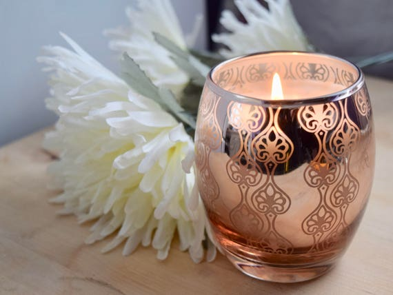 "Copper Glass Votive Handmade Soy Candle, 3.5"" high, reflective, decorated, wedding, Christmas party, decoration, table, choose your scent"