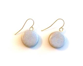 Silver Circle Round Clay Earrings - Polymer Clay Earrings