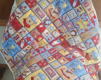 Baby quilt with bears/hand made baby quilt/baby quilt/bear baby quilt