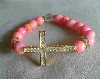 Women's Pink and Orange Cross bracelet