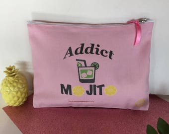 Trendy powder pink cotton pouch