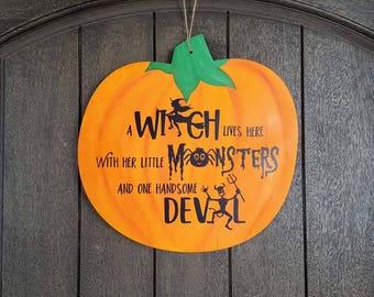 Wood Sign: Painted Pumpkin Door Hanger Wood Canvas
