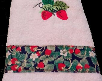 Strawberry Fields Embroidered Handtowel