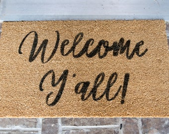 Door Mat   Welcome Yu0027all   Front Porch Mat   Welcome Yu0027all