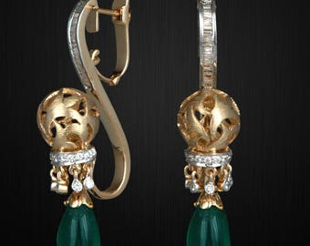 Gold plated Silver Earrings with Green Onyx