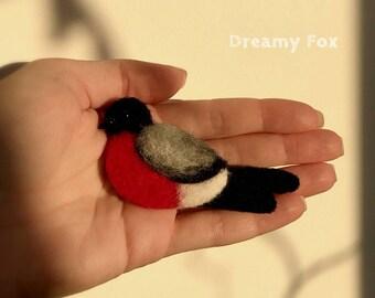 Needle felted bullfinch brooch