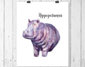 Hippopotamus Art Print | Safari Animal | Nursery | Hippo | Watercolor | Gallery Wall | Instant Download | Digital Print | JPEG | 11x14 | 098