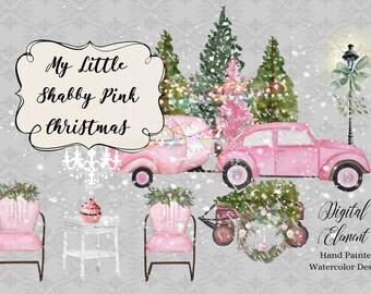 Christmas Clip-art, Retro Car and Camper, Shabby Pink Christmas Watercolor, Pink Christmas Clip-art, Snow, Camper, VW Bug. No. WC81