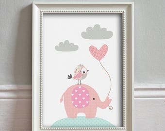 Nursery Art - Baby Girl Nursery Decor, Elephant Nursery Art, Kids Wall Art, Pink Green Nursery Art #Elephant & Bird PRINT