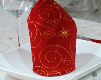 Top Quality Christmas Stars Napkins - Anti Stain Proof Resistant - Pack of 6 units - Red