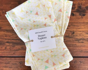 Set of 2 or 4 Coral, Mint and Yellow Geodesic Web Made-To-Order Cotton Dinner Napkins
