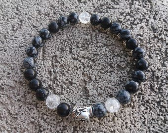 Please energized please man, zen Bracelet, well being, Obsidian snowflake, rock crystal and tierracast Buddha meditation high quality