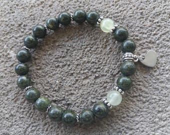 Bracelet énergétisé, well-being and balance in African Jasper, prehnite and stainless steel heart pendant