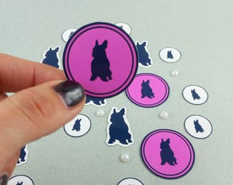 "Small stickers set ""French Bulldog"" pink"
