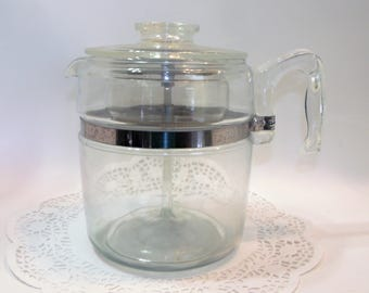 Vintage Pyrex Clear Glass Stove Top Percolator Coffee Pot 6-9 Cup 7759 complete ~