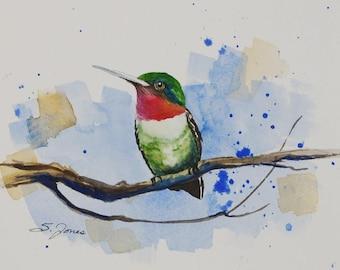 Watercolor Ruby Throated Hummingbird Print Wildlife Nature Print