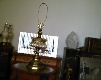Vintage Mid Century Hollywood Regency Bubble Glass & Brass Table Lamp