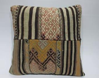 striped kilim pillow anatolian Turkish patchwork kilim pillow 20x20 brown and cream color ethnic pillow throw pillow home design 1643