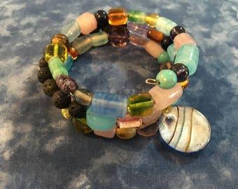Aromatherapy Glass Bead Memory Wire Bracelet