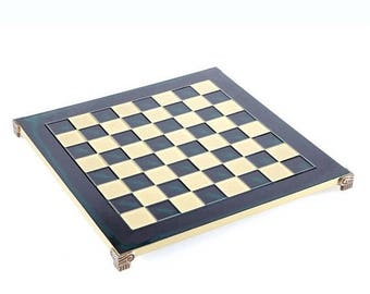 """For Sale Brass & Green Chess Board - 1"""" Squares - Without Pawns"""