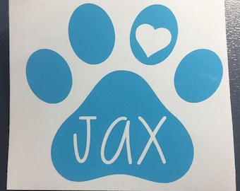 Dog paw with heart decal