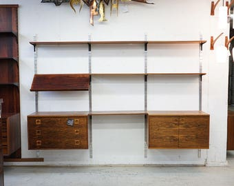 308-052 Danish Mid Century Modern Rosewood Wall System Shelving Bookcase