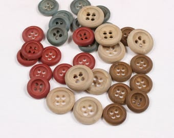 6 buttons 22mm, 27mm or 31mm wood, beige, Brown, red or teal, 4 holes (1007 am)