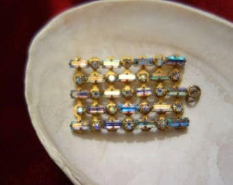 Vintage Pendants, necklaces, aurora borealis glass blocks-Grandma necklaces-rhinestone jewelry, Art Deco style