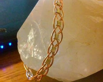 390 intricate copper and silver wire weaved bracelet