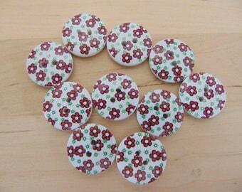 10 x 18mm wooden buttons flowers ref3
