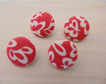 4 x buttons 19mm red and beige fabric TOUR6