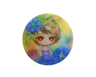 1 cabochon 28mm x 2 BOUT11 flowers girl fabric