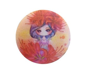 1 cabochon 19mm x 5 BOUT11 flowers girl fabric