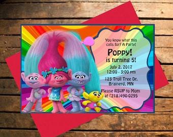 Downloadable Trolls Themed Birthday Invitation