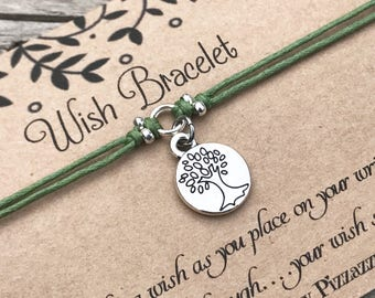 Tree of Life Wish Bracelet, Make a Wish Bracelet, Tree of Life Bracelet, Wish Bracelet, Friendship Bracelet, Nature Bracelet, Gift for Her