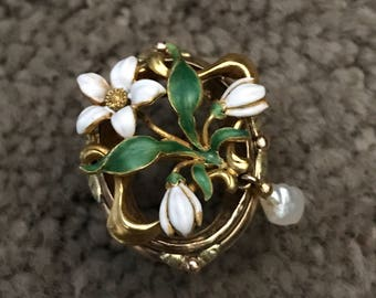 3.  14k Enamel Art Nouveau Flower Pearl Ring