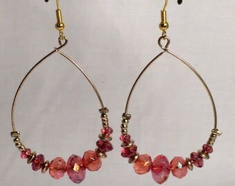 Gold Wire Hoops with Pink Beads