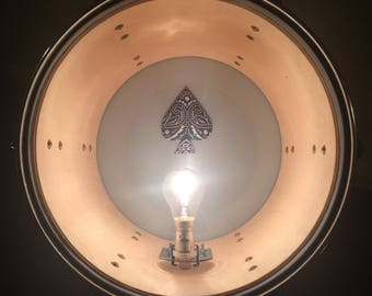 Upcycled Repurposed Ace of Spades Tom Drum Floor Lamp Light