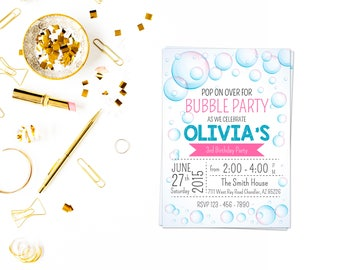 Bubble Theme Invitation 2, Bubble Party, Bubble Party Invitation, Bubble Party Invite, Bubble Birthday, Bubble Invitation, Bubble Party