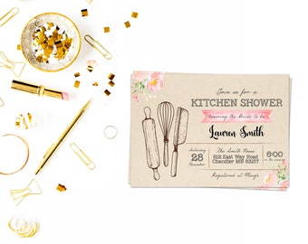 Kitchen shower card,Couples Shower Invitation, His&Hers, rustic invite,Wedding Shower ,Couple's Shower,his and hers , bridal shower