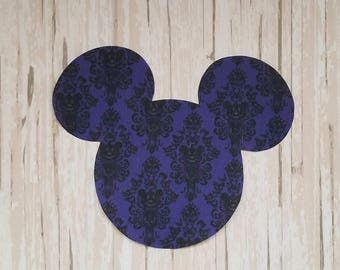 "BIG 5""x 6"" Disneyland Haunted Mansion Mickey Mouse Pumpkin Fabric Iron On Applique DIY No Sew, Family Matching Shirts"